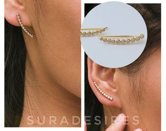Ear Climber, 925 Sterling Silver, Ear Crawler Earrings, Ear Climber Earrings, Crystal Ear Climber | Suradesires