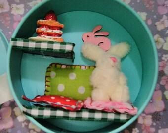 Bunny Rabbit in a little Tin Diorama Miniature Scene