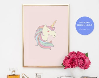 Unicorn print, unicorn art print, unicorn printable, printable unicorn print, unicorn wall art, girls room decor, unicorn party decor, baby