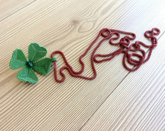 Lucky Jewelry, Clover Pendant, Long Necklace, Good Luck Gift, Shamrock Green Necklace, St Patrick's Day Gift, Miyuki Jewelry, Women Pendant
