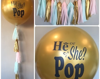 Gold Gender Reveal Balloon with Tassels and Garland