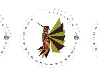 CALENDAR 2017 Christmas Gift - Gentry Birds - wall art calendar gift, print poster for New Year Gift