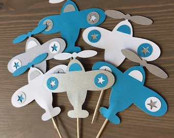 Airplane Cupcake and Treat Toppers. Airplane birthday party.   Airplane baby shower