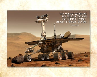 """Mars Lander """"So Many Worlds"""" Motivational Quote Poster - space exploration inspirational art print"""