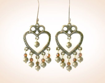 Bohemian Bronze Heart Earrings. Statement Brass Earrings. Boho Glam Jewelry