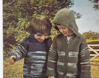 Children's knitted hoody, zip up hoody, children's sweater, children's jacket - downloadable knitting pattern