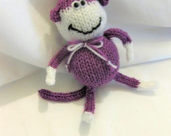 "Mr. Monkey Hand Knit Purple/White 7 1/2"""