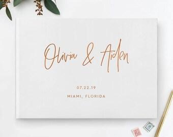 Copper Foil Wedding Guest Book, Black Wedding Guest Book, Calligraphy Guest Book, Custom Guest Book, Wedding Album, Photo Guestbook, 07