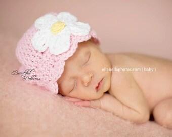 Crochet Hat Pattern Baby Girl Daisy Flower Flapper Beanie Hat PDF 120 Newborn to Adult  Photo Prop Instant Download