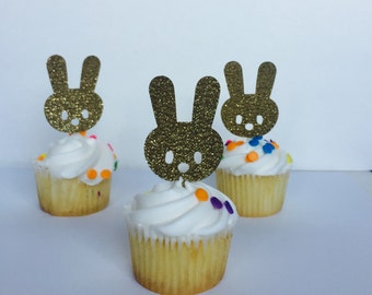 Bunny Cupcake toppers 15 ct. First Birthday. Easter Party. Spring Birthday.