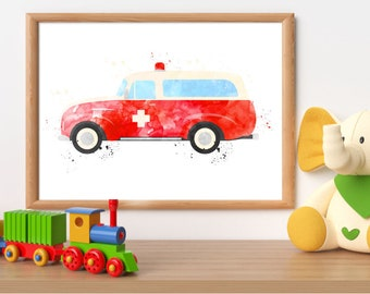 Rescue Ambulance watercolor print, rescue printable, emergency car wall art, rescue truck print, rescue vehicle print, boy bedroom wall art