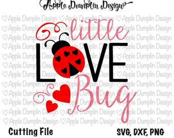 Little Love Bug, Cutting File, SVG, DXF, PNG, Vector File, Silhouette Cameo, Cricut Cut File,  Valentine's Day Svg, #SV164