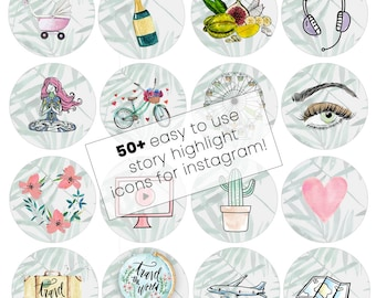 Instagram Story Highlights Icons Set 50+ Instagram Icons for Bloggers Makeup Fashion Travel - Watercolor - Template Graphic Bundle
