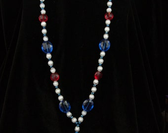 Red, White, and Blue Acrylic Lanyard