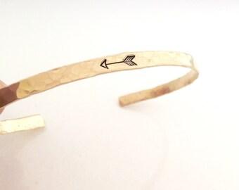 Gold Arrow Bracelet - Skinny gold cuff bracelet - hammered thin bracelet - Arrow Jewelry