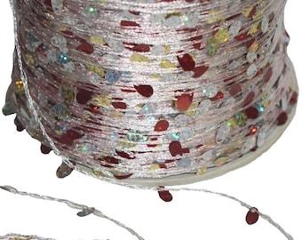 1125 yards/500gr Wholesale Silver Red Sequin Novelty Yarn for Resale, designer, etc Ret 150 dollars