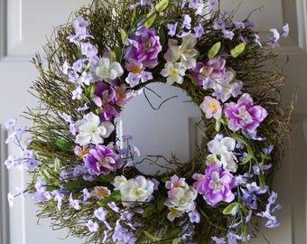 Moss Wreath, Unique One of a Kind  Purple Flowers Woodland wreath