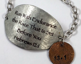 Hebrews 12:1 Spoon Bracelet with Penny Charm, Scripture Bracelet, Silverware Jewelry, Gift for Runner, runners bracelet, Commemorate race