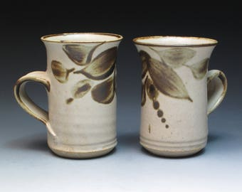 Oldrich Asenbryl Stoneware Mugs, Ex-Aldermaston Potter, Studio Pottery Mugs, Handthrown Pottery