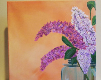 Fresh Cut Lilacs in Mason Jar 12x12 painting