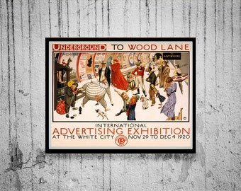 1920 London Underground Advertising Exhibition Poster Reprint