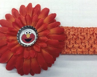 Orange Sesame Street Elmo Bottle Cap Flower Hair Bow & Headband - CHOICE of Design