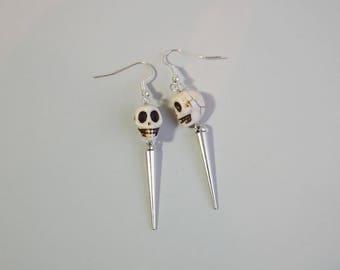 White Skull  and Silver Spike Charm Earrings
