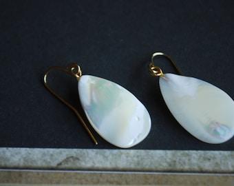 Mother of Pearl Earrings -- White Earrings, Pearl Earrings, MOP Earrings, Teardrop Earrings