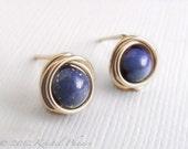 Tiny Lapis stud earrings ...