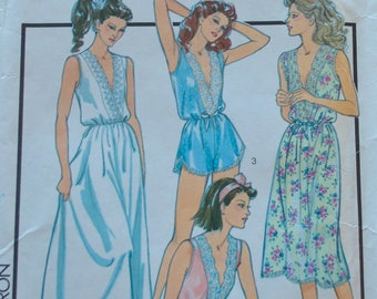 Vintage 1980s Style 1288 Sewing Pattern Women's Lingerie, Night dress, French Knickers UNCUT Size 10 12  Bust 32 34 UNCUT