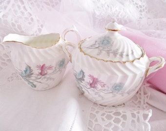 Vintage Aynsley cream and sugar set, Wayside white swirl 2pc set with floral pattern, english fine china tea accessory, excellent condition