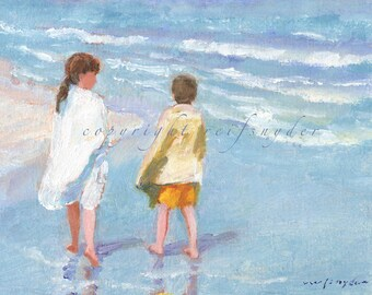 Beach print of two children, boy and girl at the beach, walking the seashore, ocean, shore, blue, yellow, seaside, brother and sister, kids