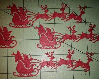 Santa in Flight die-cuts -- Set of 3 with bonus sleigh