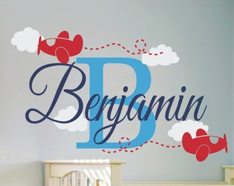 Name Wall Decal Boy - Name Wall Decal - Name Decals for Nursery - for Walls - Personalized Wall Decal  Airplane Nursery Airplane Wall Decals