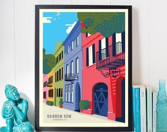 Charleston SC Rainbow Row | Travel Poster | Unframed
