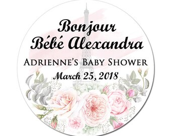 Personalized Baby Shower Labels Spring Time In Paris Round Glossy Designer Stickers - Colors Can Be Changed For Girl, Boy Or Gender Neutral