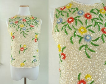 50s sequin crop top size small | knit wool floral beaded top 1950s embellished cropped top sleeveless shirt blouse
