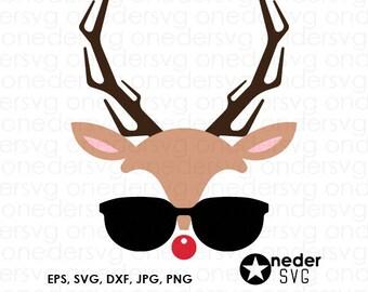 Reindeer with glasses svg, Reindeer face svg, Rudolph face svg, Deer svg, Hipster svg, Christmas clipart, Christmas shirt svg