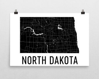 North Dakota Map, North Dakota Art, North Dakota Home, North Dakota State, North Dakota Print, Wall Art, Sign, Gifts, Decor, Poster