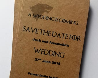 Games of throne's invites. Save the date tags, wedding invitations, Geek save the date, Game of thrones save the date.