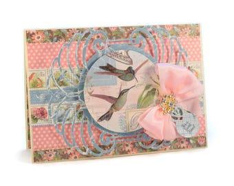 Card For Friend, Any Occasion Card, For Best Friend, Botanical, Hummingbirds, Birds, Luxury Greeting Card, Handmade Card, Elegant Card