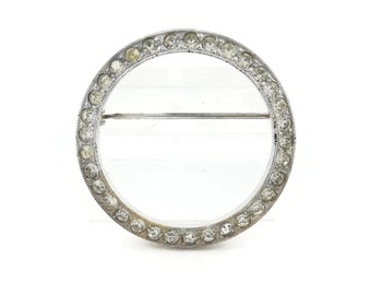 Vintage, Rhinestone, Circle Brooch, Silver Tone