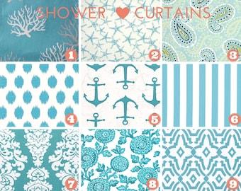 Fabric Shower Curtain - Bathroom Decor - Nautical Decor - Coastal Blue - Premier Prints Fabric -  72 x 72 Average Size or Choose Size