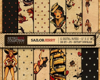 50% OFF Sailor Jerry Tattoo Rockabilly Digital Paper vintage wallpaper 12 Digital Papers collage sheet instant download Retro Box Collection
