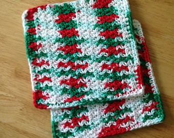 Crochet Cotton Dishcloth set of 2 Red, White and Green
