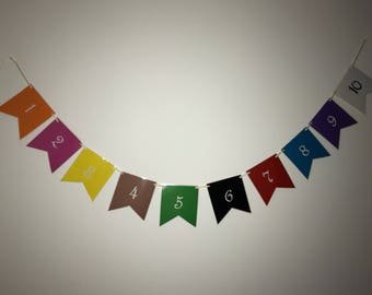 Learn to count bunting, learning numbers, 1-10 with bunting, learn with bunting, toddlers, preschool, learning, counting, bunting