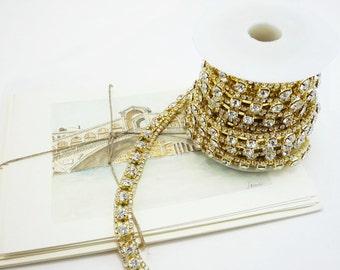 Gold Rhinestone Chain, Wedding Rhinestone Trim, Rhinestone Applique, Clear Crystal Trim,10mm ( 1 Feet Qty)