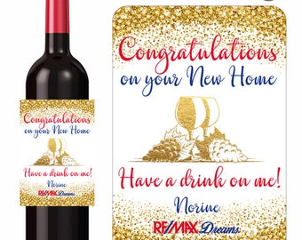 New Home Congratulations Custom Wine Labels Personalized With Your Message Name Logo With Gold Confetti Wine Glass and Grapes