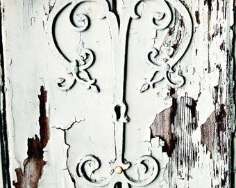 """Rustic old wooden door photography print  ironwork  white on white wall art   """"Weathered Beauty"""""""