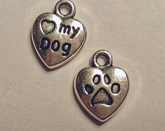 Heart My Dog Charms - 10 pcs. - Dog Charms - Silver Dog Charms - Animal Charms - Love My Dog - Paw Charms - 3D Charms - Two sided Charms